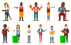 Vector set of people eating and drinking. Royalty Free Stock Photography