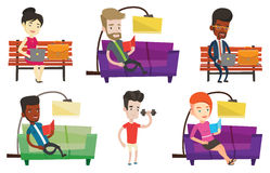 Vector set of people during leisure activity. royalty free illustration