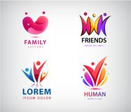 Vector set of people logos. Human, man community, social connection icons. Creative group, social care, kids royalty free illustration