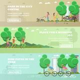 Vector set of People in park concept banners. Running, walking out dogs, cycling. Royalty Free Stock Photography
