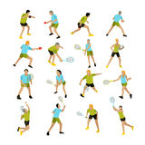 Vector set of people playing tennis, ping-pong and badminton.  Stock Image