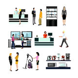 Vector set of people shopping in home electronic store.   Royalty Free Stock Photography