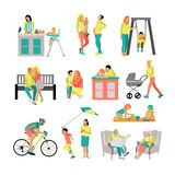 Vector set of people in situations at home and park. Illustration flat style, icons isolated on white background. Royalty Free Stock Images