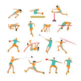 Vector set of people in sport poses. Track and field athletic contest concept. Sportsman flat icons  on white Royalty Free Stock Image