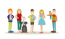 Pet owners vector flat icon set. Vector set of people with their pets cat, dog, goldfish, rabbit and parrot cockatoo. Males and females pet owners flat style Royalty Free Stock Image