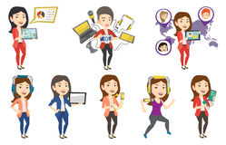 Vector set of people using modern technologies. Royalty Free Stock Photography