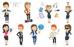 Vector set of people using modern technologies. Royalty Free Stock Images