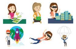 Vector set of people using modern technologies. Stock Images