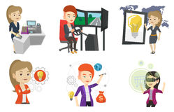 Vector set of people using modern technologies. Royalty Free Stock Photos