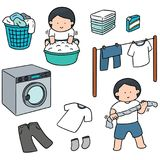 Vector set of people washing clothes. Hand drawn cartoon, doodle illustration Stock Photography
