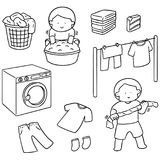 Vector set of people washing clothes. Hand drawn cartoon, doodle illustration Stock Photo