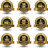 Vector set of 100 percent satisfaction guaranteed. Vector set of 100 percent satisfaction guarantee golden labels Stock Photos