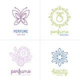 Vector set of perfume and cosmetics logo design templates Royalty Free Stock Photos
