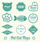 Vector Set: Pet Cat Name Tags. Collection of retro style pet can name tags and labels Royalty Free Stock Photo
