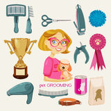 Vector Set. Pet Grooming. Vector illustration of pets groomer stock illustration