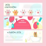Vector set of pet grooming salon cards. Vector set of pet grooming cards, flyers, posters with cute dog taking bath, animal paws and pet care tools and vector illustration