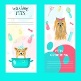 Vector set of pet grooming salon cards. Vector set of pet grooming cards, flyers, posters with cute dogs taking bath, getting haircut, animal care accessories vector illustration