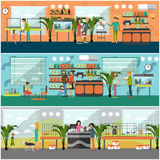 Vector set of pet shop concept posters in flat style Stock Photo