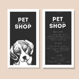 Vector set of pet shop flyers. Dog portrait  on black square text template. Black informational list. Stock Photo