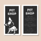 Vector set of pet shop flyers. Dog portrait  on black square text template. Black informational list. Stock Image