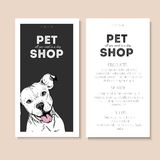 Vector set of pet shop flyers. Dog portrait  on black square text template. White informational list. Stock Photography