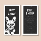 Vector set of pet shop flyers. Dog portrait isolated on black square text template. Black informational list. Stock Photography