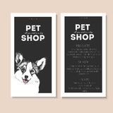 Vector set of pet shop flyers. Dog portrait isolated on black square text template. Black informational list. Royalty Free Stock Photos