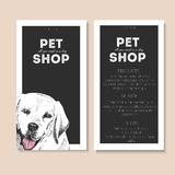Vector set of pet shop flyers. Dog portrait isolated on black square text template. Black informational list. Royalty Free Stock Photography