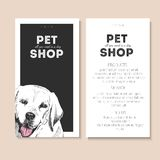 Vector set of pet shop flyers. Dog portrait isolated on black square text template. White informational list. Royalty Free Stock Image