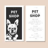 Vector set of pet shop flyers. Dog portrait isolated on black square text template. White informational list. Royalty Free Stock Photo