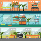 Vector set of pet shop interior concept posters, flat style Royalty Free Stock Photo