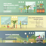 Vector set of pet store horizontal banners in flat style Royalty Free Stock Images