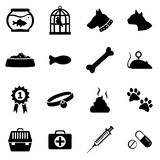 Vector Set of Pets Icons. Vector Set of 16 Black Pets Icons stock illustration