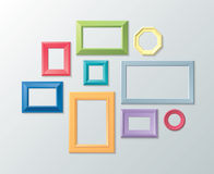 Vector set of photo frames on the wall vector illustration