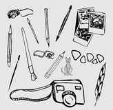 Vector Set of photographic equipments. Hand Drawn Doodles illustration Stock Images