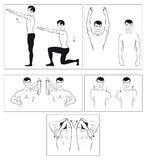 Vector set of physical exercises to relax the spin Royalty Free Stock Photography