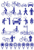 Vector set pictograms bicycle infrastructure icons. Vector bike accessories set.Various cycling poses in silhouettes Royalty Free Stock Photos