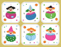 Vector set pictures with clowns Royalty Free Stock Photography