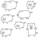 Vector set of pig. Hand drawn cartoon, doodle illustration Royalty Free Stock Image