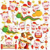 A vector set of pigs in Chinese new year celebration costume and items. A vector set of cute pigs in Chinese new year celebration costume and items vector illustration