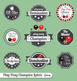 Vector Set: Ping Pong Champion Labels and Icons. Collection of vintage ping pong league champion labels and icons Royalty Free Stock Photography