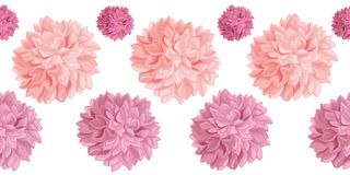 Vector Set of Pink Birthday Party Paper Pom Poms Set Horizontal Seamless Repeat Border Pattern. Great for handmade cards. Invitations, wallpaper, packaging stock illustration
