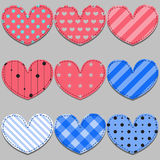 Vector set of pink and blue hearts Royalty Free Stock Images