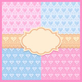 Vector set of pink and blue seamless patterns. Pink and blue vector seamless patterns, frame and ribbon Royalty Free Stock Photography
