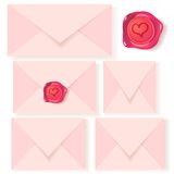 Vector set of pink letters with romantic wax seal Royalty Free Stock Photo