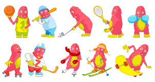 Vector set of pink monsters sport cartoon illustrations. Stock Photo