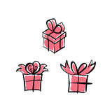 Vector set of pink paper boxes with bows isolated on white backg Stock Image