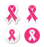 Vector set of pink ribbons for breast cancer Stock Photography