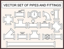 Vector set of pipes and fittings Royalty Free Stock Image