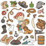Vector set of pirate items, boy and dog Royalty Free Stock Images